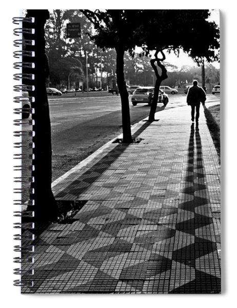Lonely Man Walking At Dusk In Sao Paulo Spiral Notebook
