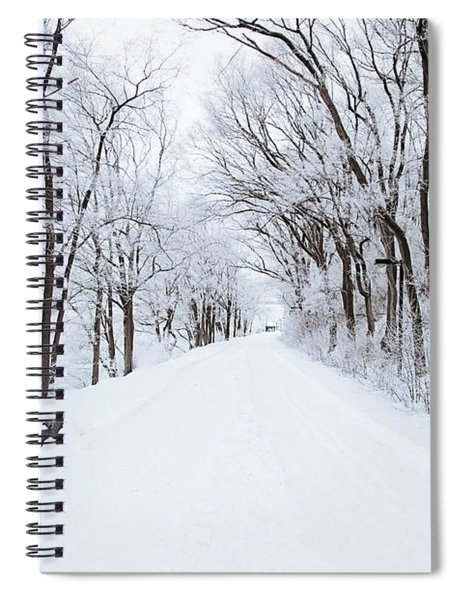 Lonely Snowy Road Spiral Notebook