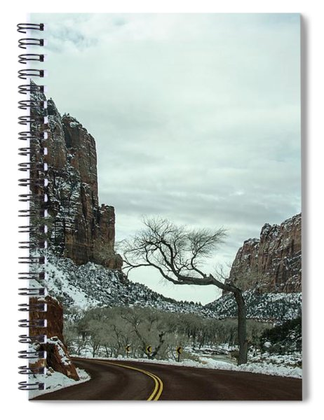 Lonesome Snowy Winter In Zion Spiral Notebook
