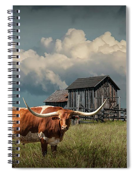 Longhorn Steer In A Prairie Pasture By Windmill And Old Gray Wooden Barn Spiral Notebook