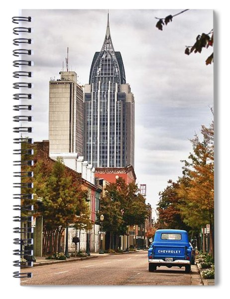 Looking Down Dauphin Street And The Blue Truck Spiral Notebook