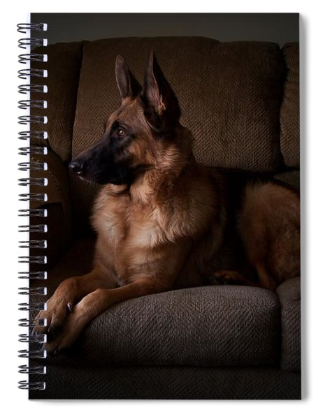 Looking Out The Window - German Shepherd Dog Spiral Notebook