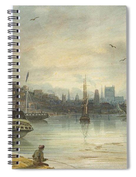 Looking Up The Floating Harbor Towards The Cathedral Spiral Notebook