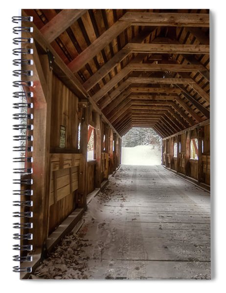 Spiral Notebook featuring the photograph Loon Song Covered Bridge 1 by Heather Kenward
