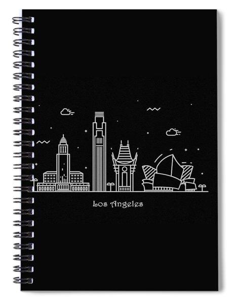Los Angeles Skyline Travel Poster Spiral Notebook