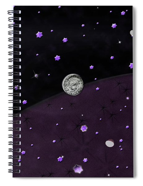 Lost In Midnight Charcoal Stars Spiral Notebook