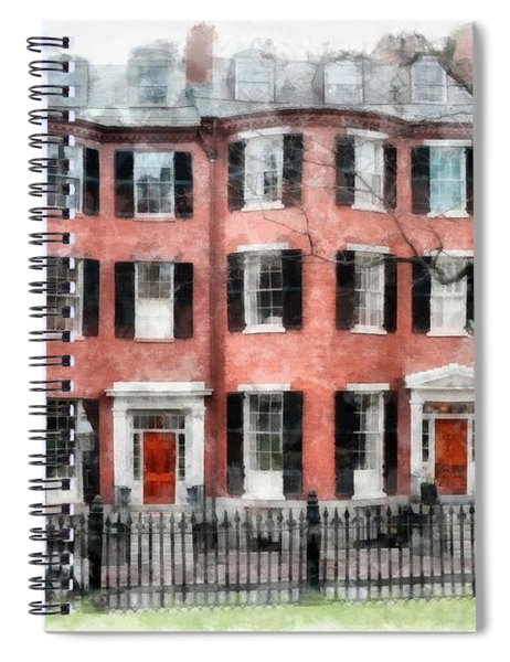 Spiral Notebook featuring the photograph Louisburg Square Beacon Hill Boston by Edward Fielding