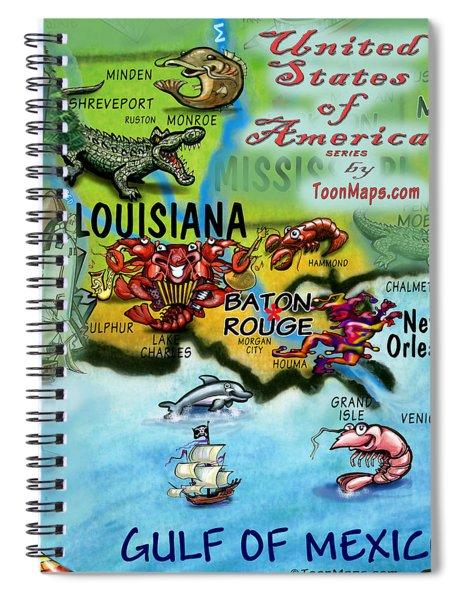 Louisiana Fun Map Spiral Notebook