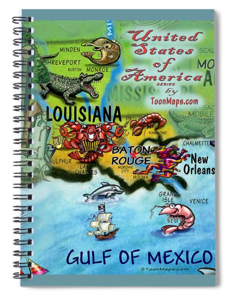 Louisiana Fun Map Spiral Notebook