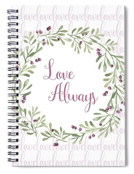 Love Always Wreath Pink And Green Square Spiral Notebook