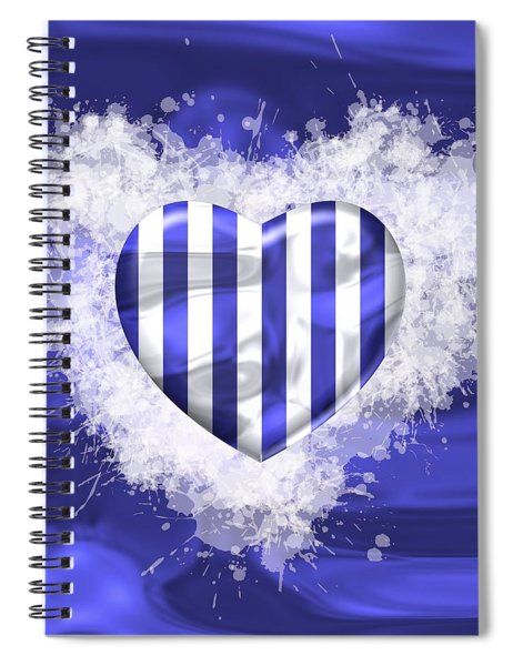 Love Blue And White Strepes Spiral Notebook