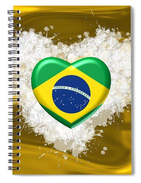 Love Brazil Heart Spiral Notebook