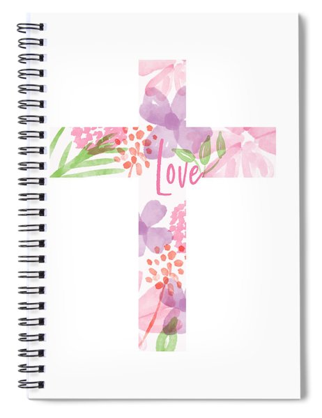 Love Floral Cross- Art By Linda Woods Spiral Notebook
