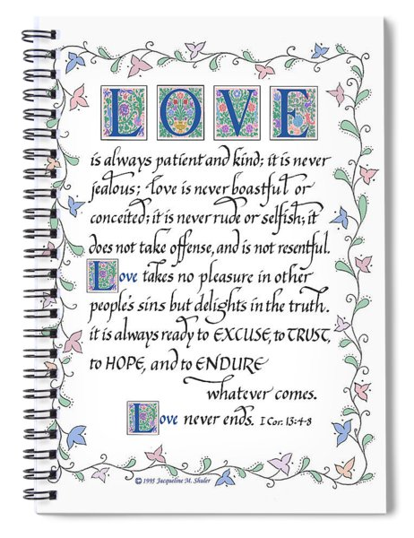 Love Is Always Patient-with Border Spiral Notebook