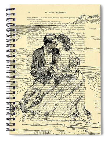 Loving Couple By The Sea Spiral Notebook
