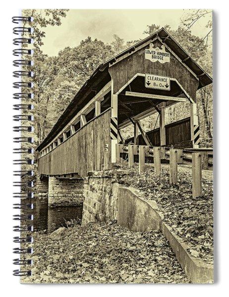 Lower Humbert Covered Bridge 2 - Sepia Spiral Notebook