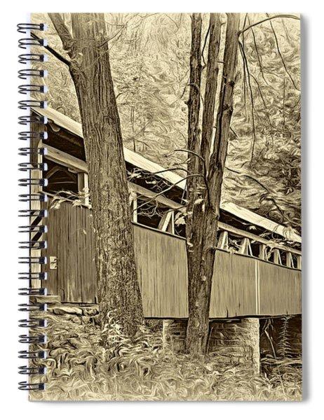Lower Humbert Covered Bridge - Paint Sepia Spiral Notebook