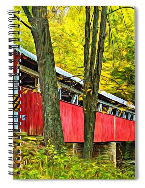 Lower Humbert Covered Bridge - Paint Spiral Notebook