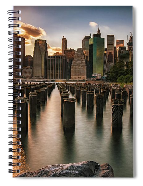 Lower Manhattan Sunset Twinkle Spiral Notebook