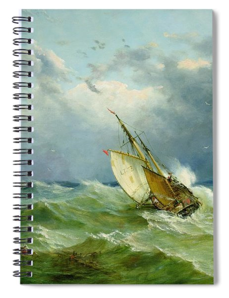 Lowestoft Trawler In Rough Weather Spiral Notebook