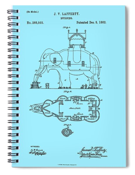 Lucy The Elephant Patent 1882 Spiral Notebook