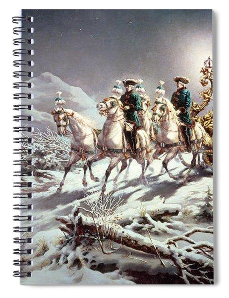 Ludwig II Of Bavaria Sleighing At Night From Neuschwanstein To Linderhof Spiral Notebook