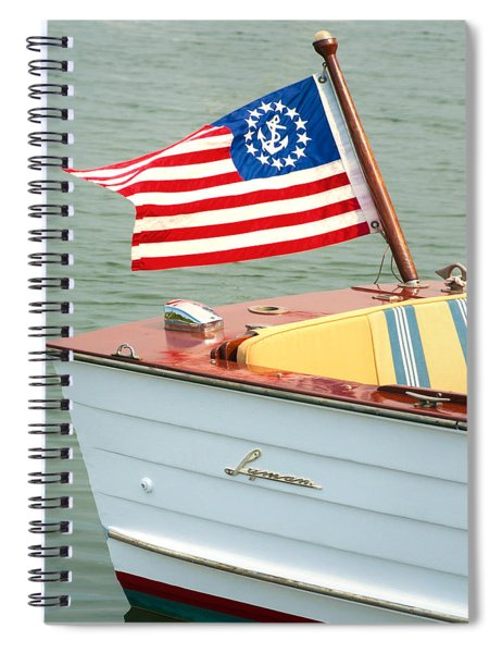 Vintage Mahogany Lyman Runabout Boat With Navy Flag Spiral Notebook
