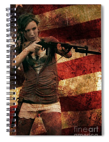M1 Carbine On American Flag Spiral Notebook