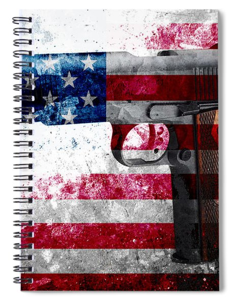 M1911 Colt 45 And American Flag On Distressed Metal Sheet Spiral Notebook