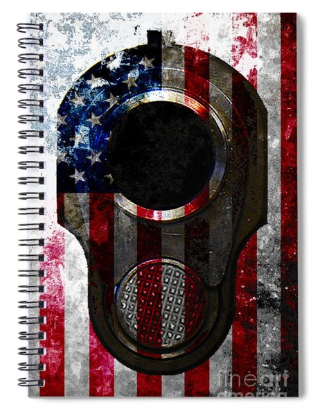 M1911 Colt 45 Muzzle And American Flag On Distressed Metal Sheet Spiral Notebook