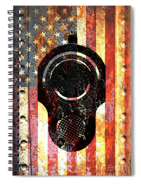 M1911 Colt 45 On Rusted American Flag Spiral Notebook