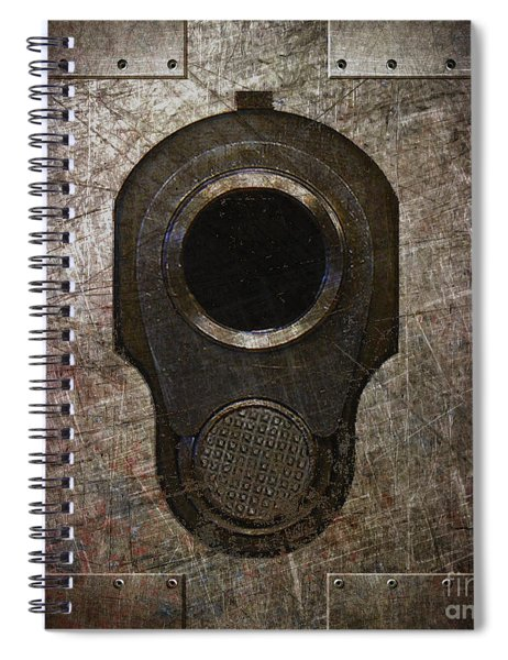 M1911 Muzzle On Rusted Riveted Metal Dark Spiral Notebook
