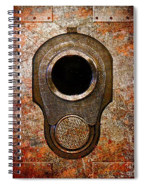 M1911 Muzzle On Rusted Riveted Metal Spiral Notebook