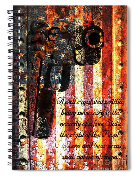 M1911 Pistol And Second Amendment On Rusted American Flag Spiral Notebook