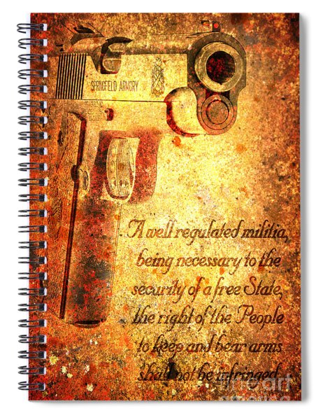 M1911 Pistol And Second Amendment On Rusted Overlay Spiral Notebook