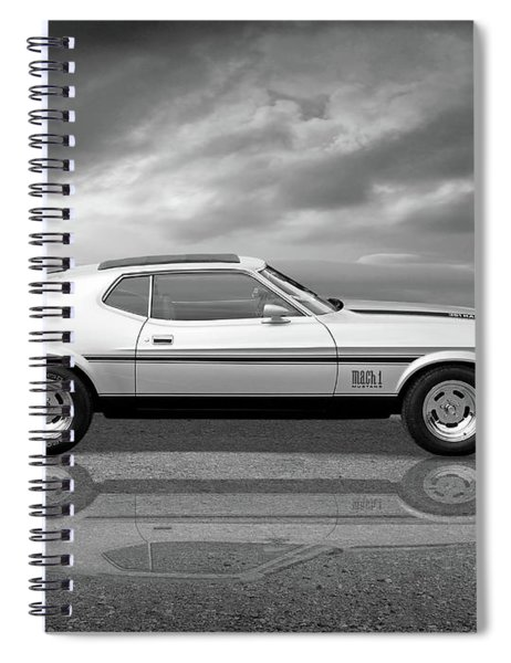 Mach 1 Mustang Reflections In Black And White Spiral Notebook