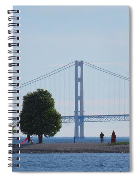 Mackinac Island Panorama With The Mighty Mac Spiral Notebook