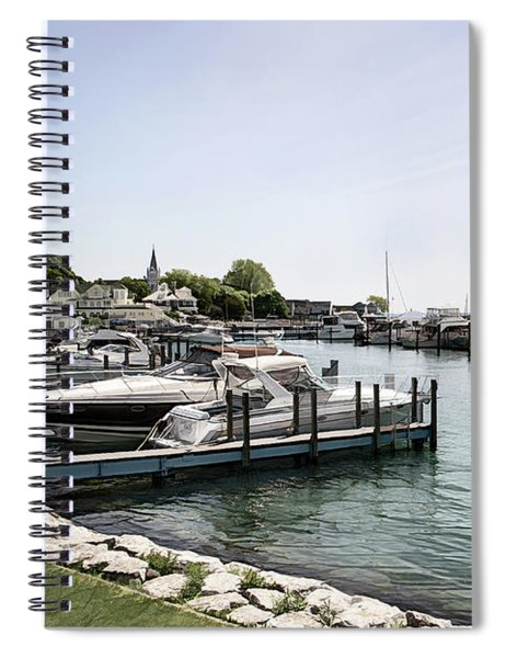 Mackinac Marina Art Spiral Notebook