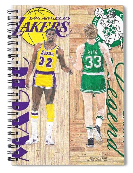 Magic Johnson And Larry Bird Spiral Notebook