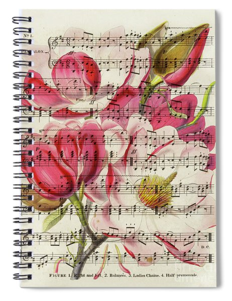 Magnolias And Music Sheet Spiral Notebook