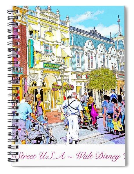 Main Street Usa Walt Disney World Poster Print Spiral Notebook