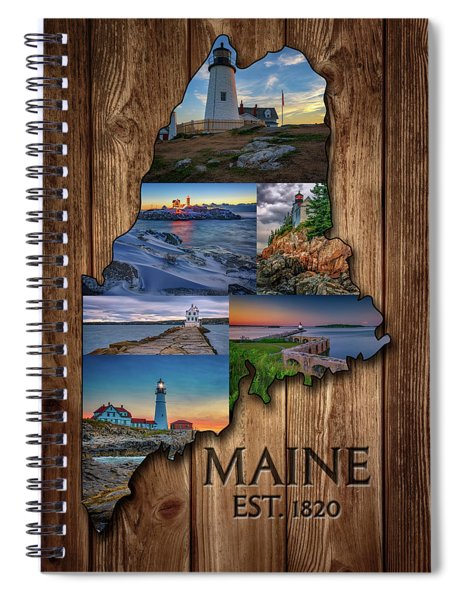 Maine Lighthouses Collage Spiral Notebook