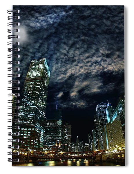 Majestic Chicago - Windy City Riverfront At Night Spiral Notebook