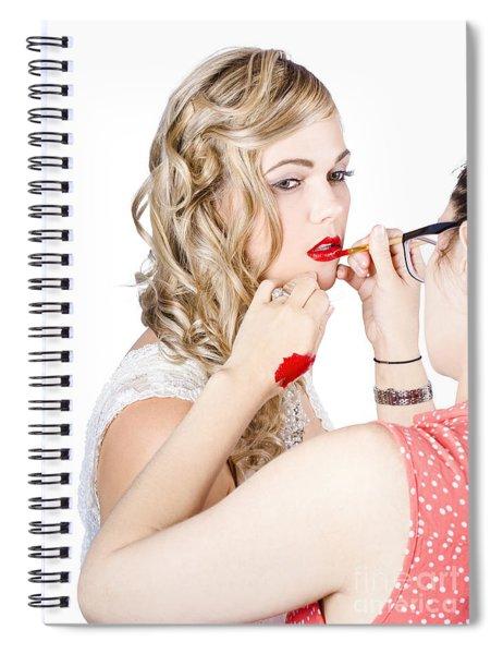 Make-up Artist Applying Lipstick On A Model Spiral Notebook