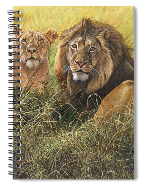 Spiral Notebook featuring the painting Male And Female Lion by Alan M Hunt