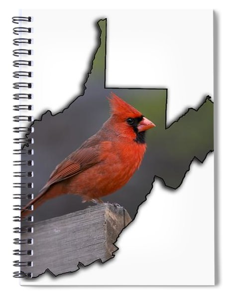 Male Cardinal Perched On Rail Spiral Notebook