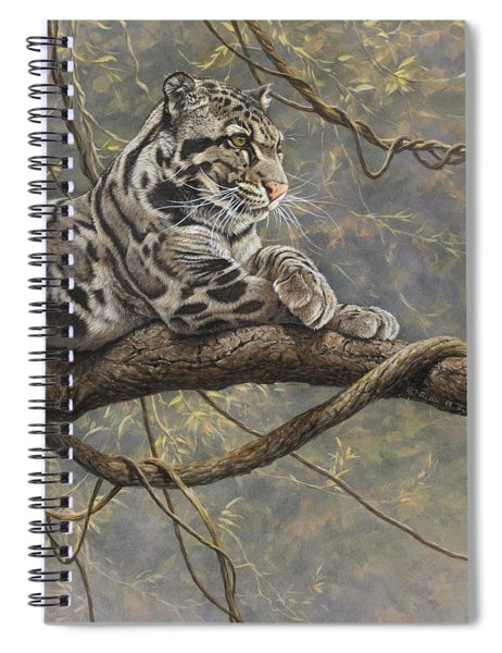 Spiral Notebook featuring the painting Male Clouded Leopard by Alan M Hunt