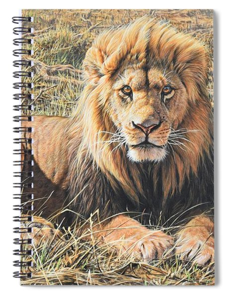 Spiral Notebook featuring the painting Male Lion Portrait by Alan M Hunt