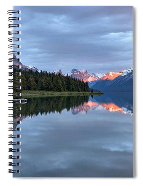 Maligne Lake Jasper Sunset Panorama Spiral Notebook