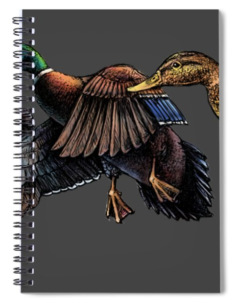 Mallard Ducks In Flight Spiral Notebook